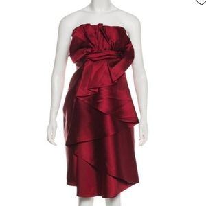 NWT Elie Saab cherry red 100% SILK dress